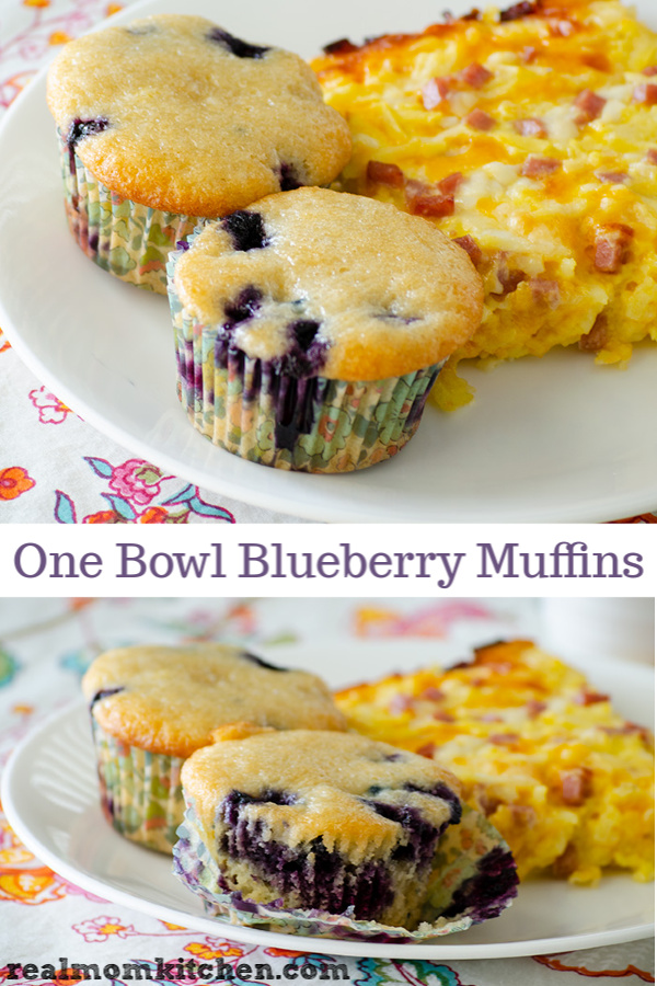 One Bowl Blueberry Muffins | realmomkitchen.com