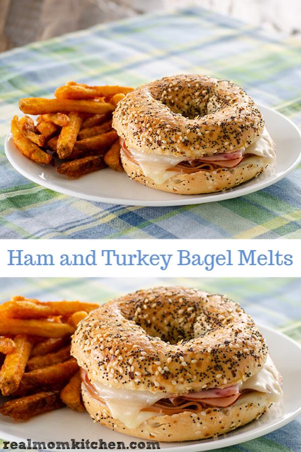 Ham and Turkey Bagel Melts   realmomkitchen.com