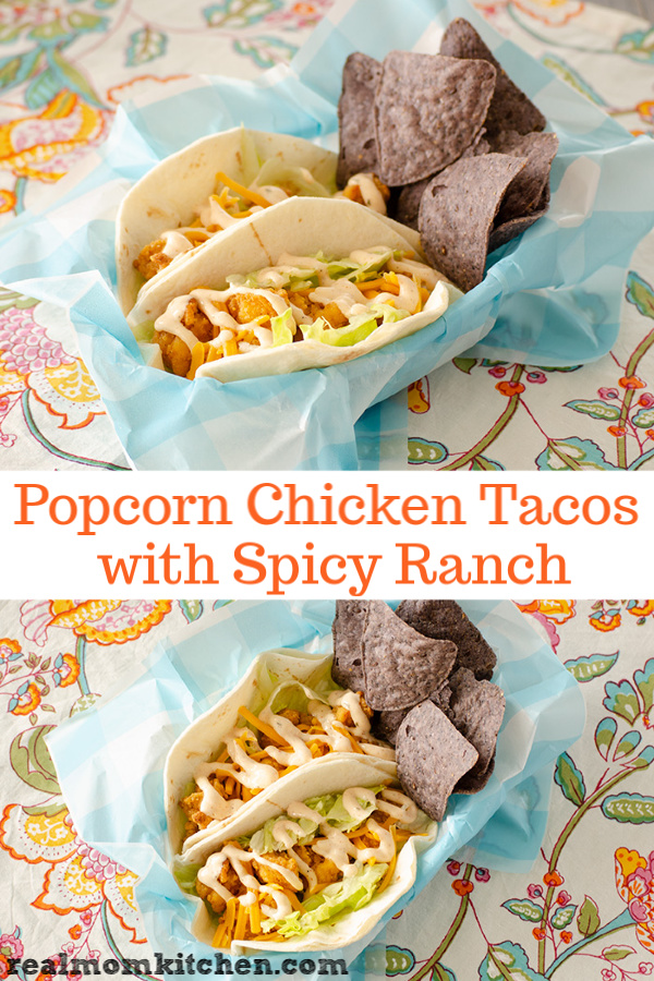 Popcorn Chicken Tacos with Spicy Ranch | realmomkitchen.com