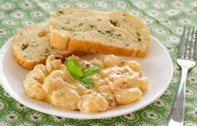 Gnocchi with Creamy Sun-dried Tomato and basil Sauce   realmomkitchen.com