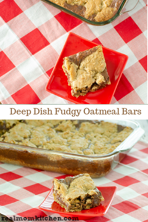 Deep Dish Fudgy Oatmeal Bars | realmomkitchen.com