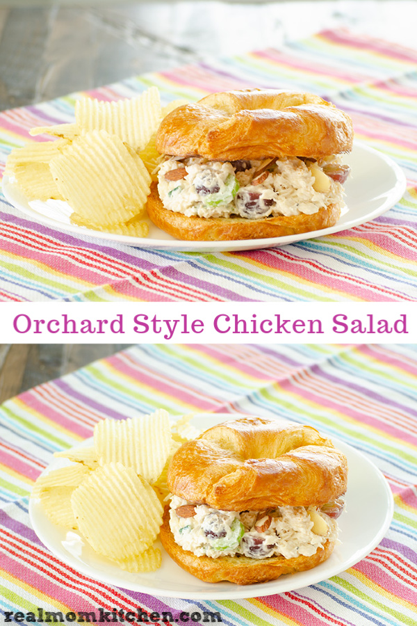 I love a good chicken chicken salad, especially when it is served on a flaky croissant. That is exactly how I served this Orchard Style Chicken Salad | realmomkitchen.com