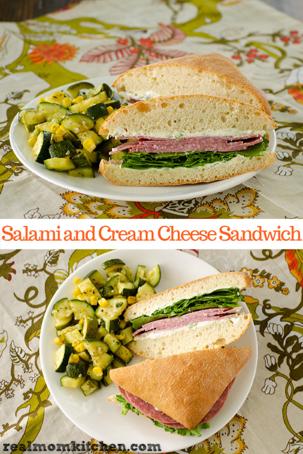 Salami and Cream Cheese Sandwich | realmokitchen.com