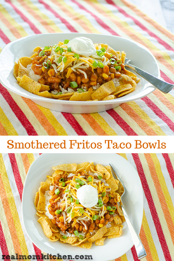 Smothered Fritos Taco Bowls | realmomkitchen.com