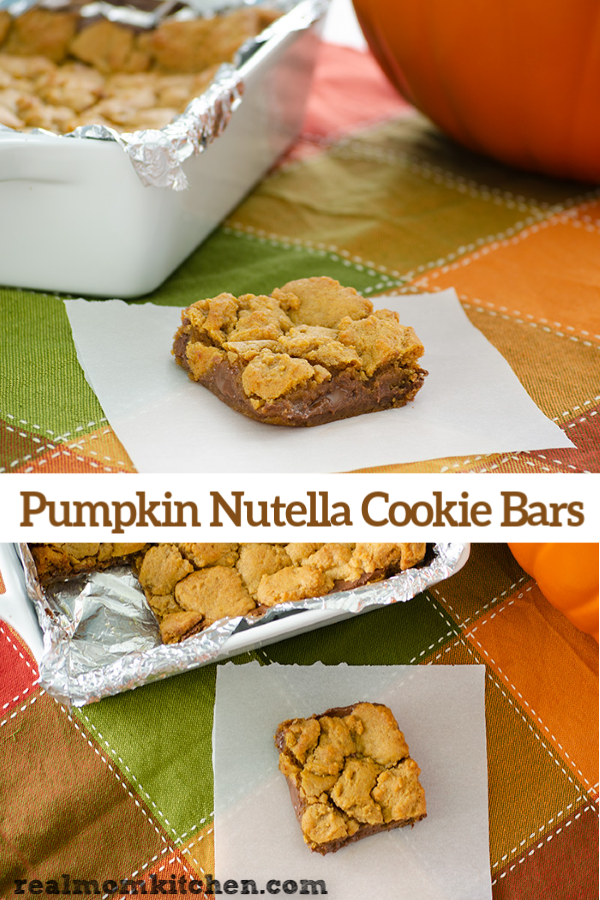 Pumpkin Nutella Cookie Bars | realmomkitchen.com