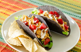 Slow Cooker Queso Chicken Tacos   realmomkitchen.com