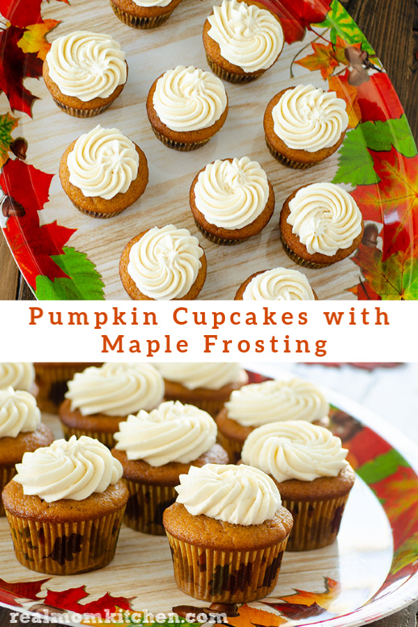 Pumpkin Cupcakes with Maple Frosting | realmomkitchen.com