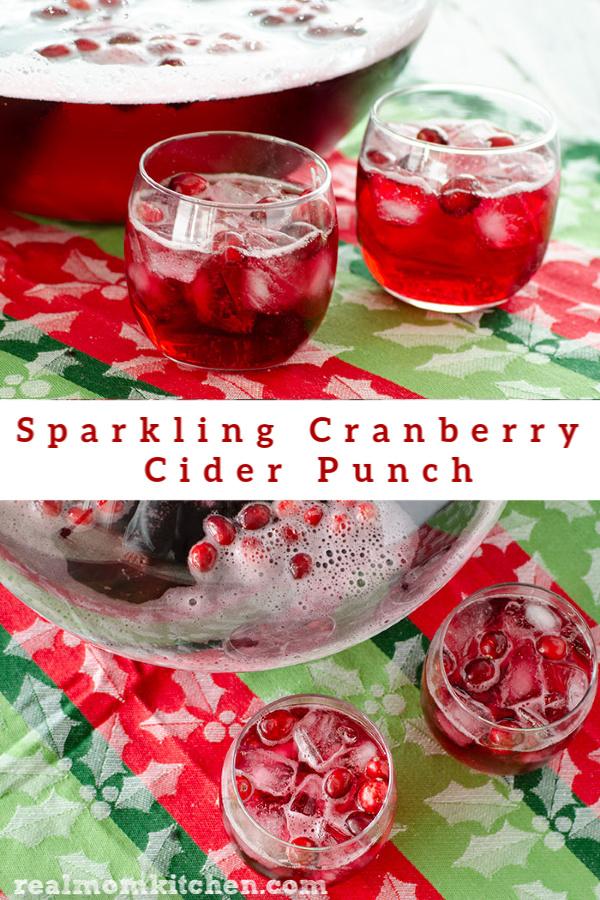 Sparkling Cranberry Cider Punch | realmomkitchen.com