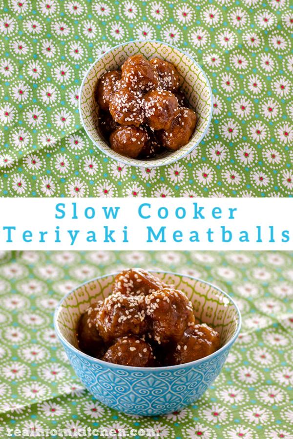 Slow Cooker Teriyaki Meatballs | realmomkitchen.com