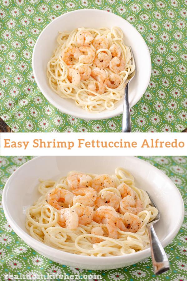 Easy Shrimp Fettuccine Alfredo | realmomkitchen.com