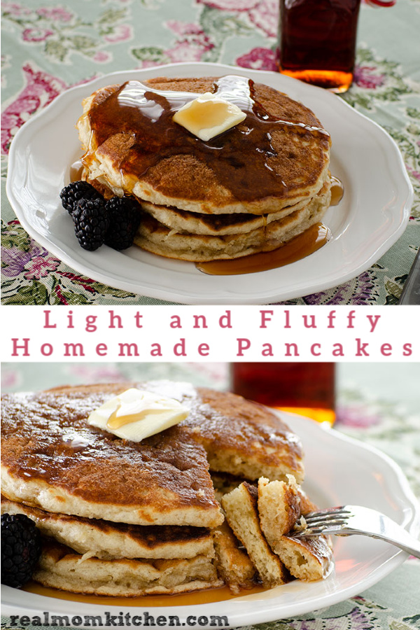 Light and Fluffy Homamde Pancakes | realmomkitchen.com