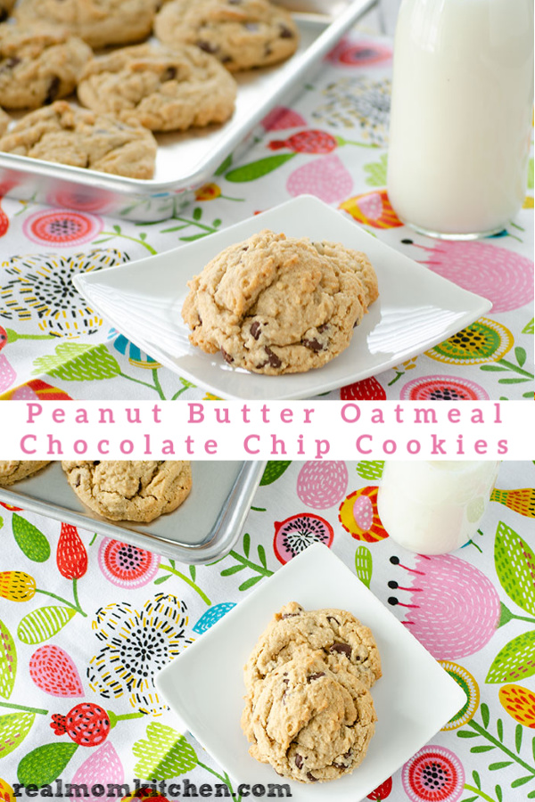 Peanut Butter Oatmeal Chocolate Chip Cookies | realmomkitchen.com