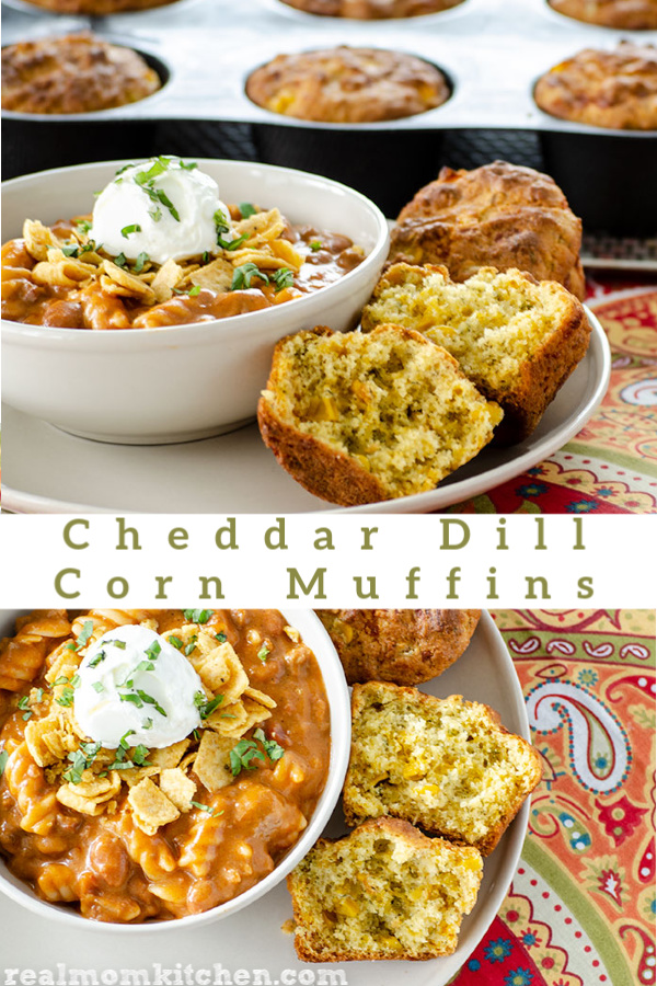 Cheddar Dill Corn Muffins | realmomkitchen.com