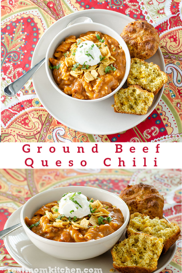 Ground Beef Queso Chili | realmomkitchen.com