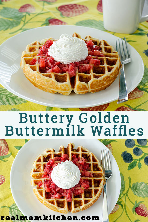 Buttery Golden Buttermilk Waffles | realmomkitchen.com