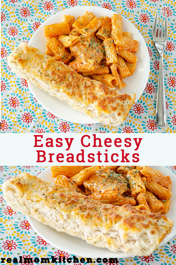 Easy Cheesy Breadsticks | realmomkitchen.com
