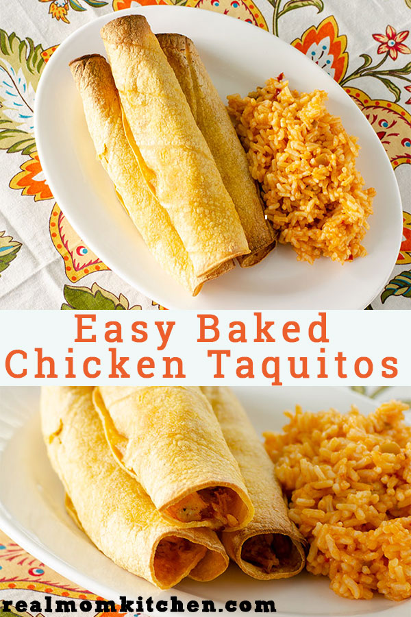 Easy Baked CHicken Taquitos | realmomkitchen.com