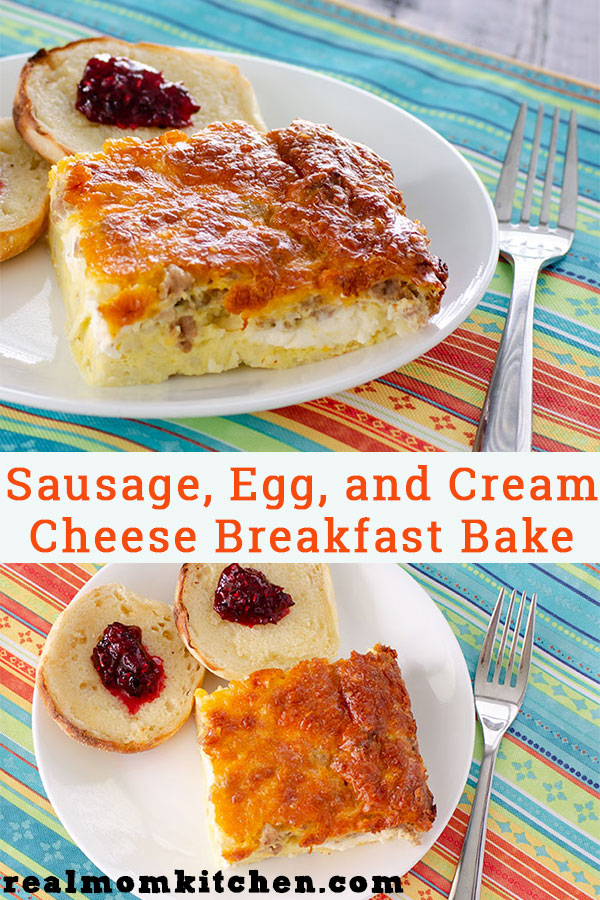 Sausage, Egg, and Cream Cheese Breakfast Bake | realmomkitchen.com