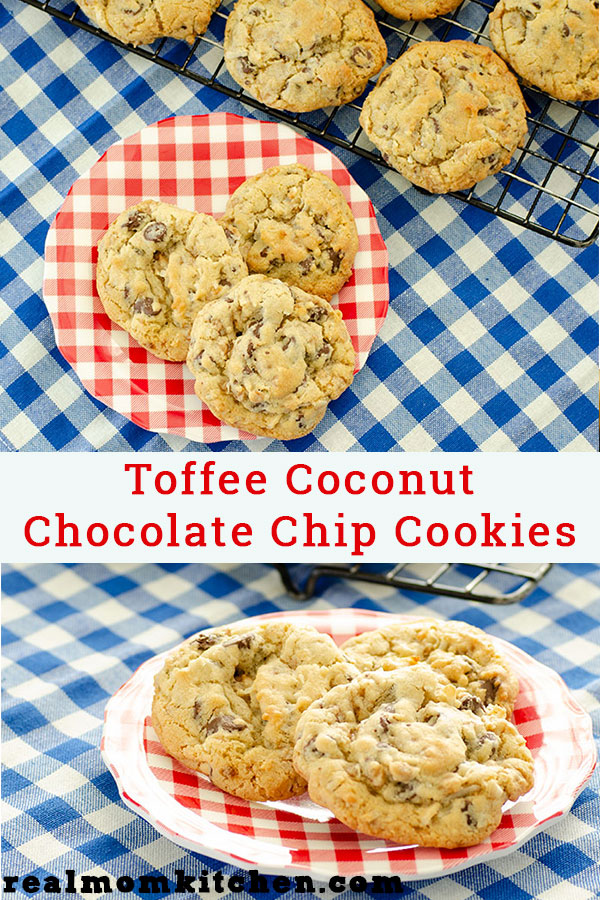Toffee Coconut Chocolate Chip Cookies | realmomkitchen.com