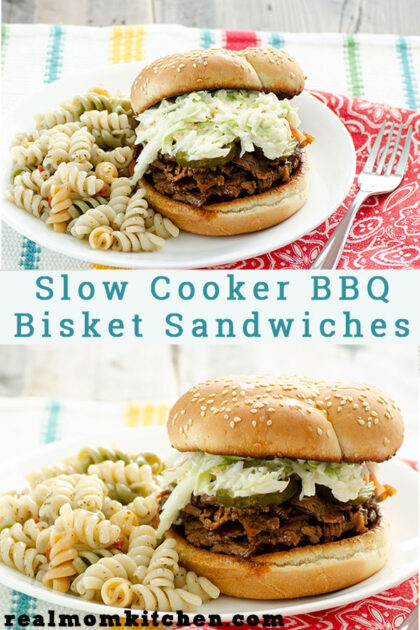 Slow COoker BBQ Brisket Sandwiches | realmomkitchen.com