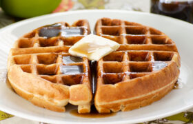 Apple Butter Waffles with Cinnamon Syrup | realmomkitchen.com