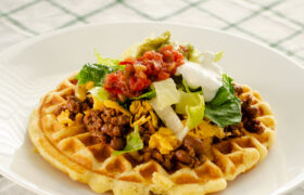 Taco Topped Cornbread Waffles | realmomkitchen.com