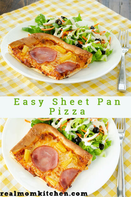 Easy Sheet Pan Pizza | realmomkitchen.com