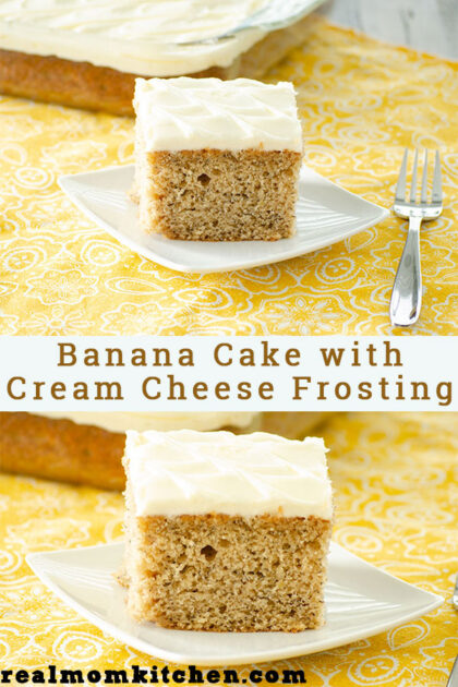 Banana Cake with Cream Cheese Frosting | realmomkitchen.com