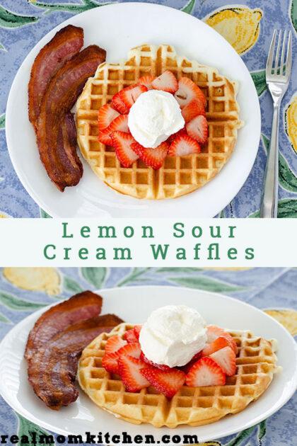 Lemon Sour Cream Waffles   realmomkitchen.com