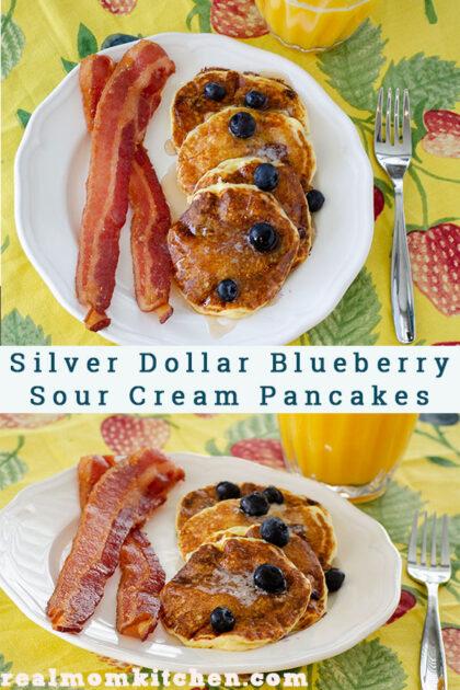 Silver Dollar Blueberry Sour Cream Pancakes   realmomkitchen.com