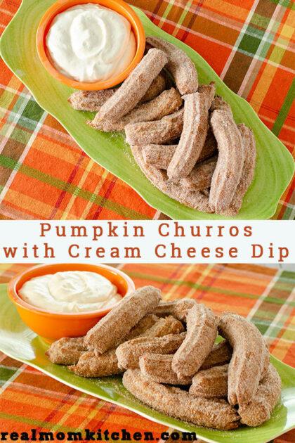 Pumpkin Churro with Cream Cheese Dip | realmomkitchen.com